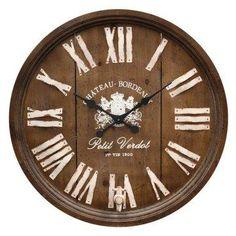 Wine barrel wooden clock.