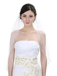 1T 1 Tier Wavy Crystal Beaded Wedding Veil  White Fingertip Length 36 V330 *** See this great product.-It is an affiliate link to Amazon.