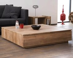 Ethnicraft© - Products » Occasional Tables »Teak Groove coffee table - 2 drawers