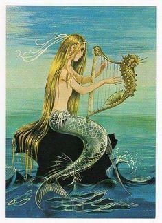 mermaid postcard-mermaid with seahorse harp Mermaid Cove, Mermaid Fairy, Fantasy Mermaids, Mermaids And Mermen, Mermaid Under The Sea, The Little Mermaid, Fantasy Creatures, Sea Creatures, Hans Christian