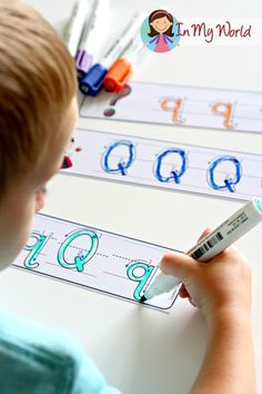 FREE handwriting letter practice cards. Laminate and use with a dry-erase marker for a write and wipe center.