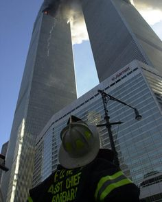 9/11 North Tower is struck and Fire fighters respond...not knowing the tragedy to come. #WorldTradeCenter Twin Towers (Two of the 4 Targets of #911) Remembering and Honoring the Heroes of 9-11-2001