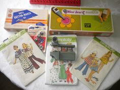Vintage Sewing Lot BAtch Set Button Maker Marker by Craftyology, $29.00