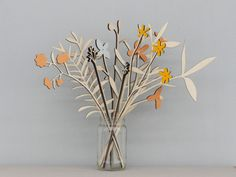 Wooden Flowers - Plywood Flowers - Wooden Meadow Flowers - 10 stem set by AnnaWiscombe on Etsy