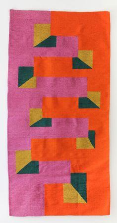 Martha Clippinger, Untitled, hand-dyed woven wool, 65 x 32 inches, woven by Licha Gonzalez Ruiz and Agustin Contreras Lopez. Textiles, Textile Patterns, Textile Design, Textile Art, Print Patterns, Palette Pastel, Concrete Art, Decoration Inspiration, Art Graphique
