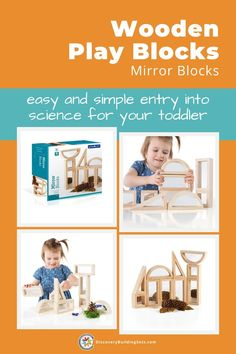 Discovery Building Sets offers Wooden Play Blocks with unique mirror windows. These wooden blocks for kids are ideal for introducing your preschooler to STEM activities. As an easy entry into science, your preschooler can use the mirror windows to investigate, observe, and compare things. Unique and versatile, these wooden unit blocks are perfect for group play and your child's block zone. #DiscoveryBuildingSets #woodenbuildingblocks #woodenbuildingtoys #blockplay #openendedplay Wooden Blocks For Kids, Blocks For Toddlers, Wooden Building Blocks, Kids Blocks, Building Toys, Block Play, Traditional Mirrors, Unique Mirrors