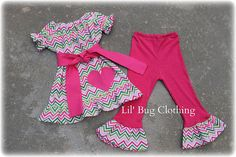 Chevron Valentines Day Lime Pink Knit Peasant Top And Knit  Pant Outfit on Etsy, $39.99