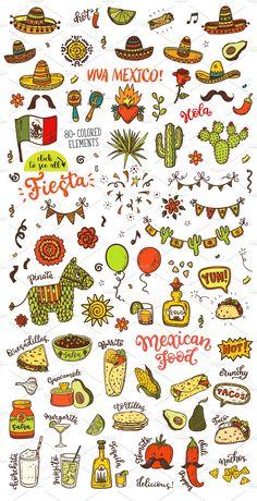 Mexican Party big set + patterns by Hala on Mexican Party, Mexican Style, Mexican Folk Art, Hand Symbols, Mayan Symbols, Viking Symbols, Egyptian Symbols, Viking Runes, Ancient Symbols