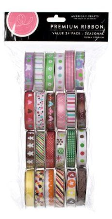 """American Crafts - Value Pack Premium Ribbon 24 Spools (.375"""" X 4 Feet Each) on Amazon today for only $11.36 ON SALE & eligible for FREE Super Saver Shipping  find more items like this at http://www.ddsgiftshop.com/arts-crafts-and-sewing  Be a fan on Facebook here https://www.facebook.com/AmazonDealsArtsCraftsAndSewing"""