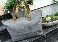 Vintage-Shopper Canvas Tasche Strandtasche von TAGWERK auf DaWanda.com