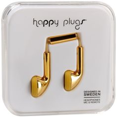 Happy Plugs Headphone ($40) ❤ liked on Polyvore featuring accessories, fillers, headphones, tech, electronics and gold