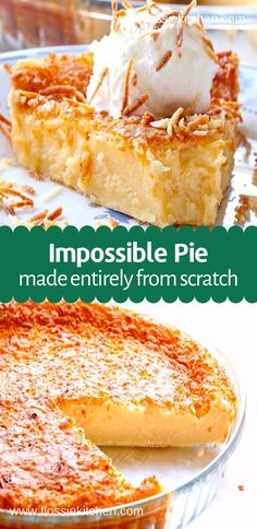 Easy Impossible Coconut Pie recipe - You'll notice it has formed a slightly rough coconut textured crust on the top, smooth and creamy filling of a baked egg and coconut custard, and a kind of puff pastry crust at the bottom Egg Custard Recipes, Custard Desserts, Coconut Desserts, Puff Pastry Recipes, Easy Desserts, Pie Recipes, Custard Cake, Flaky Pastry, Cake