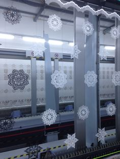 Lace curtain on embroidery machine