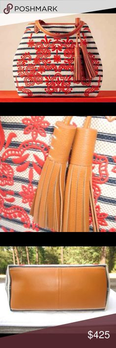 Isabella Fiore Anastasia Striped Embroidered Tote Isabella Fiore Anastasia Striped Embroidered Tote, Navy Striped.Coral,New with Tags    Details: Isabella Fiore Style: Anastasia Color: Navy Striped/Coral Textile exterior with leather accents Roomy interior Embroidered front Gold tone hardware Open top with gold-tone clasp closure Leather tassels One interior zip pocket  Measurements: Height: 13 Length: 17 Depth: 5.25 Strap Drop: 9.5 Isabella Fiore Bags Totes