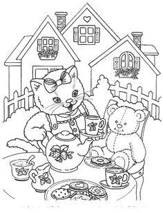 kleurplaat Poezen en katten Kids-n-Fun