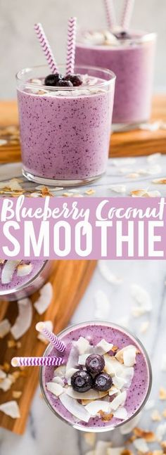 Smoothie Recipes - This Blueberry Banana Coconut Smoothie is a great easy breakfast or snack. Coconut milk, bananas, blueberries, almond butter and yogurt blend together to make a flavor and protein packed smoothie! Smoothie Bowl Vegan, Smoothies Vegan, Coconut Milk Smoothie, Juice Smoothie, Smoothie Drinks, Breakfast Smoothies, Banana Coconut, Fruit Juice, Blueberry Breakfast