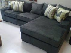 Pewter L shaped sofa sectional with a contemporary broad corduroy upholstery for only $1195!