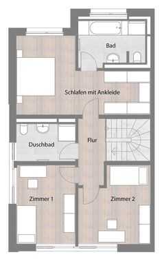 Doppelhaushälfte - Typ A - Obergeschoss m² statt Herrenhaus - Victoria - Architecture Small House Plans, House Floor Plans, Semi Detached, Detached House, Home Interior Design, Interior And Exterior, Architecture Résidentielle, Best Tiny House, House Layouts