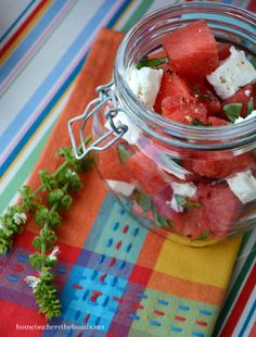 Watermelon and Feta Salad | homeiswheretheboatis.net  #summer #picnic