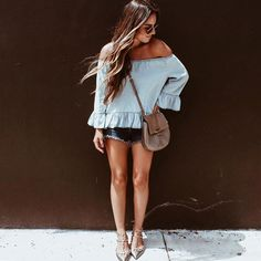 Denim x denim with @huntforstyles in our Zoe Cut Off Short in Authentique.  #lagencefashion #thefrenchjean