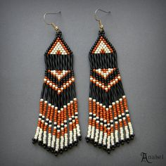 Black Brown and Cream Beaded Earrings Seed Bead by Anabel27shop #beadwork #jewelry #earrings #beading #handmade #gift #crafts