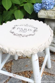 Drop Cloth Rosette Trimmed Stool -confessions of a serial diyer