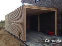 Carport with storage room made of larch side wall of untreated larch Rhom. - Carport with storage room made of larch untreated side wall made of larch Rhomboid-to Make - Diy Carport, Garage Door Design, Side Wall, Garage, Diy Porch, Carport Designs, Shed Homes, Building A Porch, Carport Garage