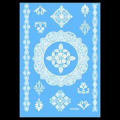 White Temporary Henna Tattoos Flowers Body, Hand Neck Transfer Indian Tattoo 02
