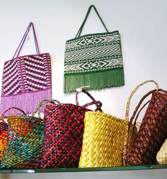 Michele Dales, flax kete ...great colourful kete in background.