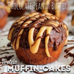 Ripped Recipes - Chocolate Peanut Butter Muffin-Cakes - These aren't quite sweet enough to be a cupcake but the yummy peanut butter frosting isn't very muffin-like. Bananas make these nice and moist!