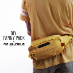 Fanny Pack DIY + Printable Pattern make this but with a lining by cutting out two back pieces, a front pocket piece, and two side zipp Sewing Hacks, Sewing Tutorials, Sewing Crafts, Sewing Projects, Sewing Diy, Bag Patterns To Sew, Sewing Patterns, Fanny Pack Pattern, Diy Bags Purses
