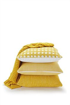Yellow cushions & throw - brown, green yellow colour scheme for living room?
