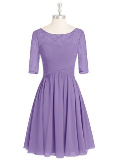 AZAZIE HATTIE. The lovely knee-length bridesmaid dress by Azazie has an A-line/princess cut in an exquisite chiffon and lace. #Bridesmaid #Wedding #CustomDresses #AZAZIE