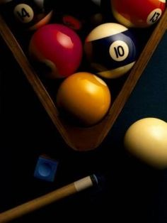 Billiard Balls, Chalk, Cue, and Rack on Table Felt Photographic Print by Ernie Friedlander, Pool Table Room, Pool Tables, Photographie Portrait Inspiration, Pool Cues, Game Room Decor, Billiard Room, Craft Stick Crafts, Bowling, Basement