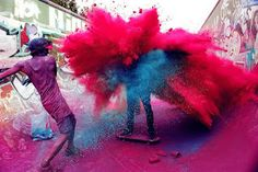 Happy holi wishesh 2020 holi greetings, holi quotes holi images for whatsapp. Festival of colors wish & holi messages . Make a splash this Holi . Street Art Utopia, Color Wars, War Paint, Paint Fight, Pics Art, Photomontage, Looks Cool, Banksy, Belle Photo