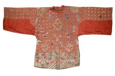 A red silk satin 'hundred boys' three quarter-length jacket, ao Late Qing Dynasty