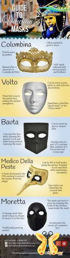 Infographic: A Guide to Venetian Masks #Infographic: A Guide to Venetian Masks #mardigras                              …<br> Learn about the various styles of Venetian masks found during Carnevale. Venetian Masquerade, Venetian Masks, Masquerade Party, Masquerade Masks, Masquerade Ball Decorations, Mascarade Mask, Carnival Decorations, Wolf Maske, Mardi Gras