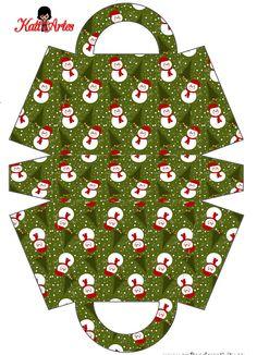 Snowman: Free Printable Paper Purse or Paper Bag.