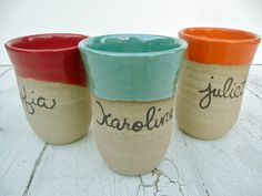 Kids Tumbler; Toddler Ceramic Cup; Cup for Children; Personalized Children's Cup; Personalized Kid's Mug- easy to fire vessels glazed this way.