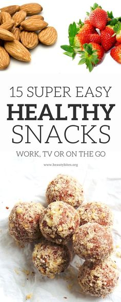 Super easy healthy snacks! If you don't know what to eat on the go, at work or when watching TV - try these healthy snack ideas! These clean eating snacks will help suppress your appetite and satisfy your cravings. Clean Eating for Beginners • Healthy snacks for a sweet tooth •