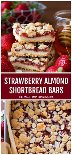 These strawberry almond shortbread bars are easy to make and taste absolutely incredible! They're the perfect treat for just about any time of year. #strawberryalmondshortbreadbars #shortbreadbars #strawberryshortbreadbars #strawberryalmondbars #strawberrybars Delicious Desserts, Dessert Recipes, Yummy Food, Bar Recipes, Quick Recipes, Homemade Toaster Strudel, Traditional Christmas Cookies, Strawberry Bars, Sour Cream Pound Cake