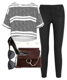 """""""Untitled #3087"""" by glitter-the-world ❤ liked on Polyvore featuring Madewell, Topshop, Chloé, Jimmy Choo, Natasha Collis and Yves Saint Laurent"""