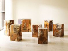 teak and acrylic stools accent tables; phillips collection