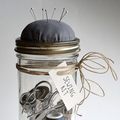 Mason Jar Sewing Kit. This would make a nice Christmas gift, and if the recipient does not know how to sew, perhaps you could include a book on sewing basics to give with this lovely kit!