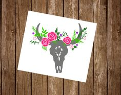 Cow Skull Decal, Floral Flowers Western Cowgirl Cow Skull Antlers Horns Southern Texas Sticker Decal for Yeti RTIC SIC Corkcicle Tumbler by TableFor5Designs on Etsy https://www.etsy.com/listing/483718446/cow-skull-decal-floral-flowers-western