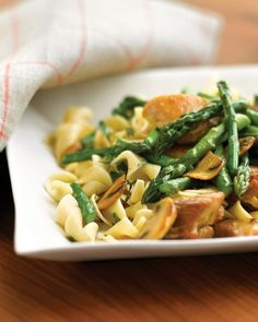 Saute two-inch chunks of chicken in a little oil, then use the same oil and a little water to transfer the flavors to the mushrooms and asparagus. Grab a wooden spoon to scrape up those browned bits -- and have dinner on the table in 30 minutes.