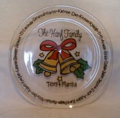 Hand painted Christmas cookie dish; fit every child, grand child, and great grand child around the edge.