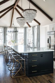Black & White Kitchen Reveal with Lucite Stools | Scout & Nimble