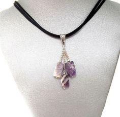 Natural Gemstone Purple Jasper Pendant Necklace Black Cord 16' Fengshui Chakra @Gail Regan Truax://stores.ebay.com/BeautyandtheGems.