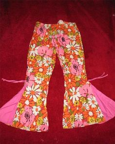 Vintage Flower Power Printed 70s Style Bell Bottom Pants for Girls Size 11 12 | eBay